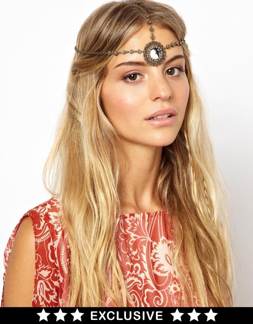 Women Rhinestone Chain Jewelry Headband Hair band Mirror Accessories BronzeColor