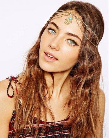 Women Fashion Sexy Rhinestone Green Chain Jewelry Headband Synthetic Emerald