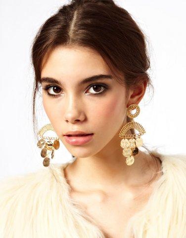 Girls Half Heart Ocean Crystal Hook Earrings Rhinestone Gold Ear Stud Earring