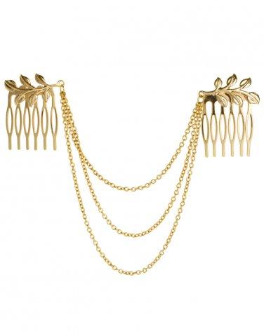 Fashion Girls Gold Chain Jewelry Headband Head Red Hair band Beauty Sexy Hairpin