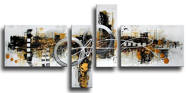 Oil Painting Contemporary Palette Wall Decor Stretched Framed Ready Hang
