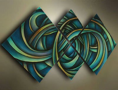 Stretched!! Modern Contemporary Abstract Oil Painting Design Picture Ready To Hang framed