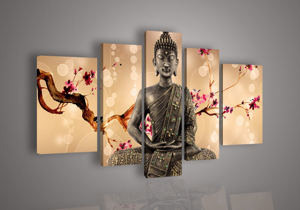 Unstretched!!Huge Wall Art Home Decoration Buddha Oil Painting on Canvas No Frame