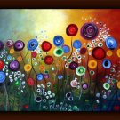 Huge Flower Art Modern Palette Knife Painting hand made Free shipping Home Decor No Frame