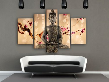 Framed 5 Panel Wall Art Religion Buddha Oil Painting On Canvas Large Size Ready to Hang