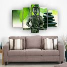 Framed Religion Buddha Green Leaf Huge Size Oil Painting On Canvas