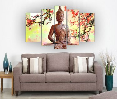 Framed zen religion buddha oil painting on canvas for home decoration Ready to Hang