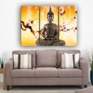 Framed Huge Size 3 Panel Home Décor Flowers Religion Buddha Oil Painting On Canvas Stretched