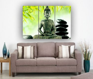 Framed Huge Size Buddha Oil Painting On Canvas Green Flowers Ready to Hang