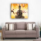 Framed Religion Buddha Oil Painting On Canvas Yellow Flowers Single Pannel Ready to Hang