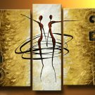 Huge Handmade 3 piece canvas Naked Girl Sexy African Nude Woman Oil Painting Landscape no frame