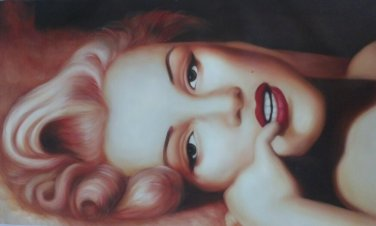 No Frame!!handmade modern nude Marilyn Monroe oil painting on canvas wall art unique gift