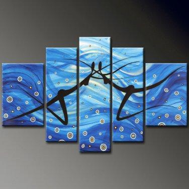 UnFramed!Huge Size Handmade Drawing Set Textured Dance Painting on Canvas Dancer 5 Piece Wall Art