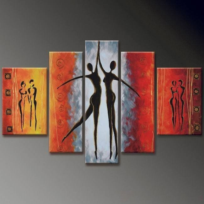 No Frame! 5 panels modern art abstract Huge Size oil painting home decor girl dancing