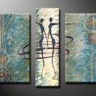 Framed 3 Panel Large Home Decor Dance Oil Painting on Canvas
