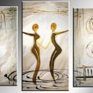 Framed 3 Panel Wall Art People Love Dance Purple Oil Painting On Canvas Paintings Modern Set