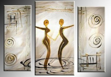 Framed 3 Panel Wall Art People Love Dance Purple Oil Painting On Canvas Paintings Modern Set