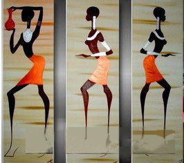 Framed 3 Panel Wall Art Dance Oil Painting Decoration Home 3 Piece Canvas