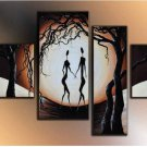 Framed  4 PC Hand Painted Modern Abstract Women Contradance Dancing Oil Painting On Canvas