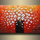 Stretched!! Hand Painted Huge Wall Art Knife Painting Flower On Canvas