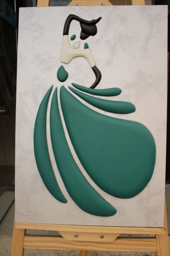 Fasion Framed Modern 3D Leather Craft Painting Wall Girl Dancing Green Color