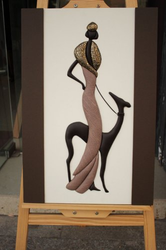Wooden Framed Abstract 3D Leather Wall Frame Lady with Dog Art Craft