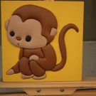 Modern Framed Lovely Cartoon Monkey on 3D Leather Painting for Children Bedroom Decor
