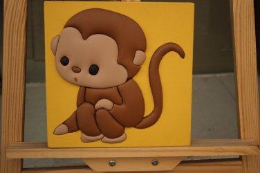 Modern Framed Lovely Cartoon Monkey on 3D Leather Painting for Children Bedroom Decor