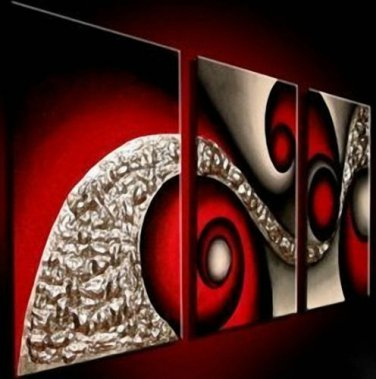 No framed!Handpainted 3 piece black golden bloody red modern abstract wall art oil painting