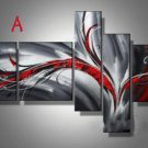 5 Pieces Abstract Oil Painting On Canvas Gray Bloody Red Wall Picture Art No frame