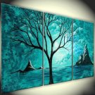 No Frame!handpainted impressional Blue Tree flower oil painting on canvas modern art home decor