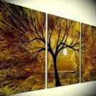 Hand painted modern decorative yellow tree oil painting on canvas wall art for living room No frame
