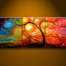 No frame!Hand painted Warm color rich tree Abstract landscape Wall home Decor Oil Painting on canvas