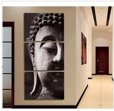 High Quality Hand-painted Group Oil Painting 3 Panel Wall Art Religion Buddha Oil Painting No Frame