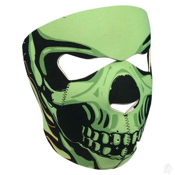 Neoprene Green Skull Full Face Reversible Motorcycle Mask (Assassin) �