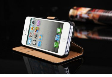 iPhone 5 Genuine Leather Phone Case Wallet Flip Cover Skin