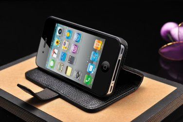 iPhone 5 5G 5S Leather Wallet Phone Case Cover Protector Stand