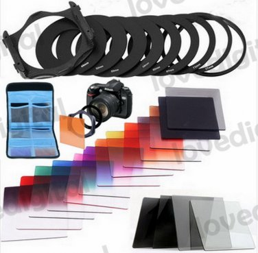 24 in 1 Graduated Orange Blue G.ND2 4 8 Color Filter + 9 Adapter Ring Holder +2 Case For Cokin P
