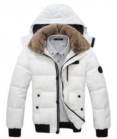 Men's Down Winter Jacket Coat Hoodie Fur Collar Coat
