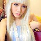 Lady Gaga Long White Blonde Hair Wig Cosplay Costume 65cm