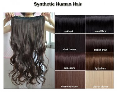 Synthetic Human Hair Clip in Extensions 3/4 Full Head Wig