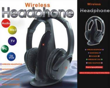 Wireless Hi Fi 5in1 TV Headphones PC Stereo RF Headset Earphones