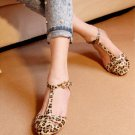 Leopard Print Women's Flats Heel Sandals Shoes Pumps