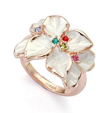 18K Gold Overlay White Petals Flower Ring Swarovski Stellux Crystals