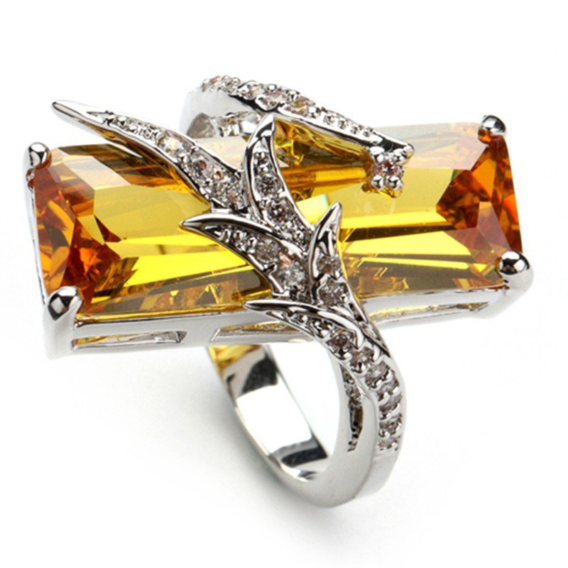 Elegant Yellow Zirconia Crystal 925 Sterling Silver Ring Jewelry Rings