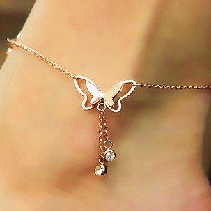 Rose Gold Titanium Steel Butterfly Anklet Tassel Pendant Foot Bracelet Feet Jewelry