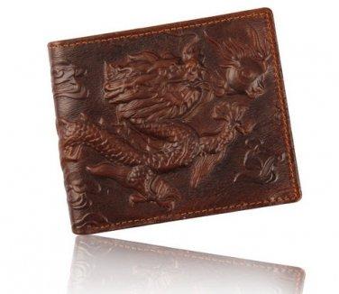 Men's 100% Genuine Leather 3D Dragon Wallet Purse Money Holder Clip