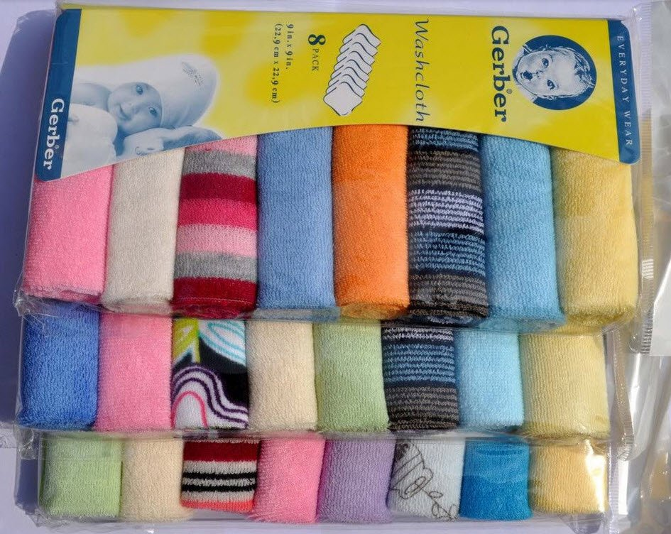 "8pcs/set Baby Soft Bath Towel Washcloth Wipe handkerchief Knit Terry Kerchief 9""x9"