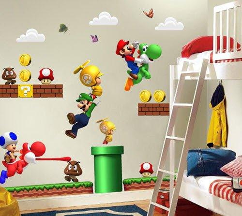 Super Mario Bros Decal Children Decor Kids Wall Sticker Poster