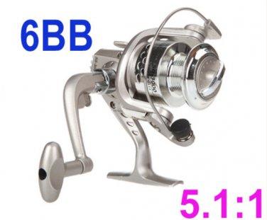 Fishing Spinning Reel 5.1:1 Rod 6BB Ball Bearings